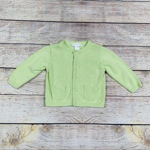Janie and Jack Layette Green Cardigan Sweater